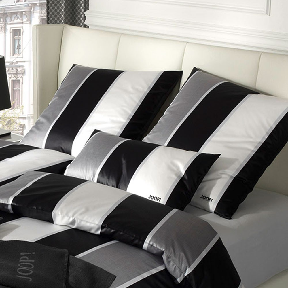 joop bettw sche lines 4055 schwarz wei mako satin 00 schwarz wei 135 x 200 ebay. Black Bedroom Furniture Sets. Home Design Ideas