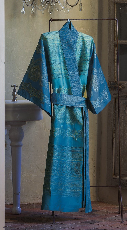 Bassetti Kimono BRUNELLESCHI V2 Größe L/ XL Druck beständigen Farben türkis