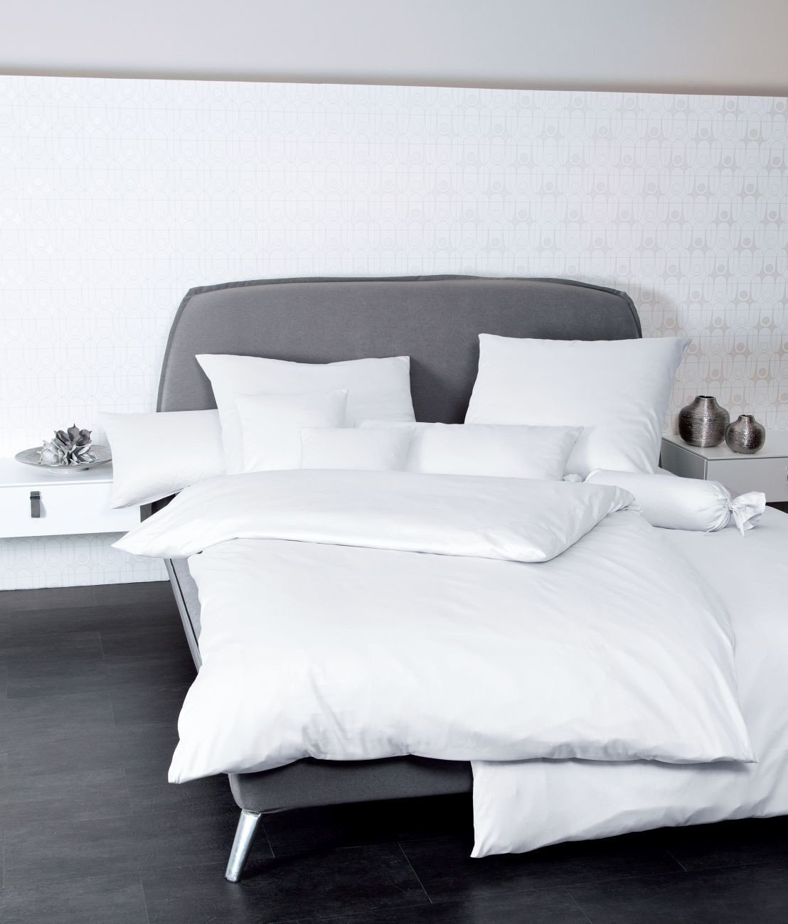 Janine Bettwäsche UNI 100% BW Mako-Satin 31001-10 Weiß 200x220 + 2x 80x80 cm