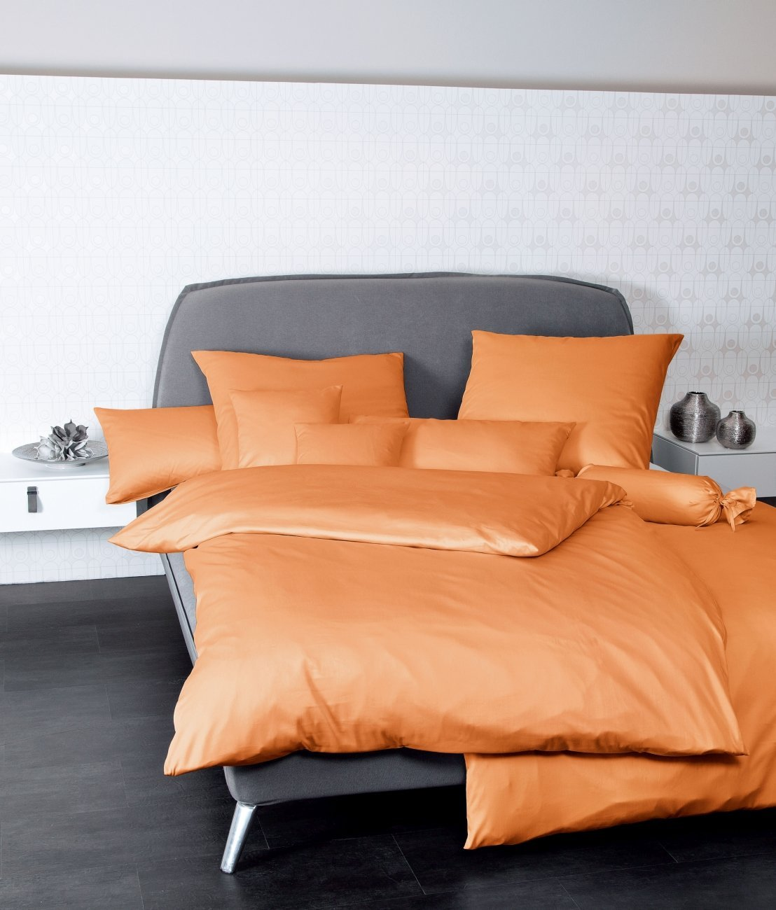 Janine Kissenbezug 40x40 UNI 100% BW Mako-Satin 31001-54 orange