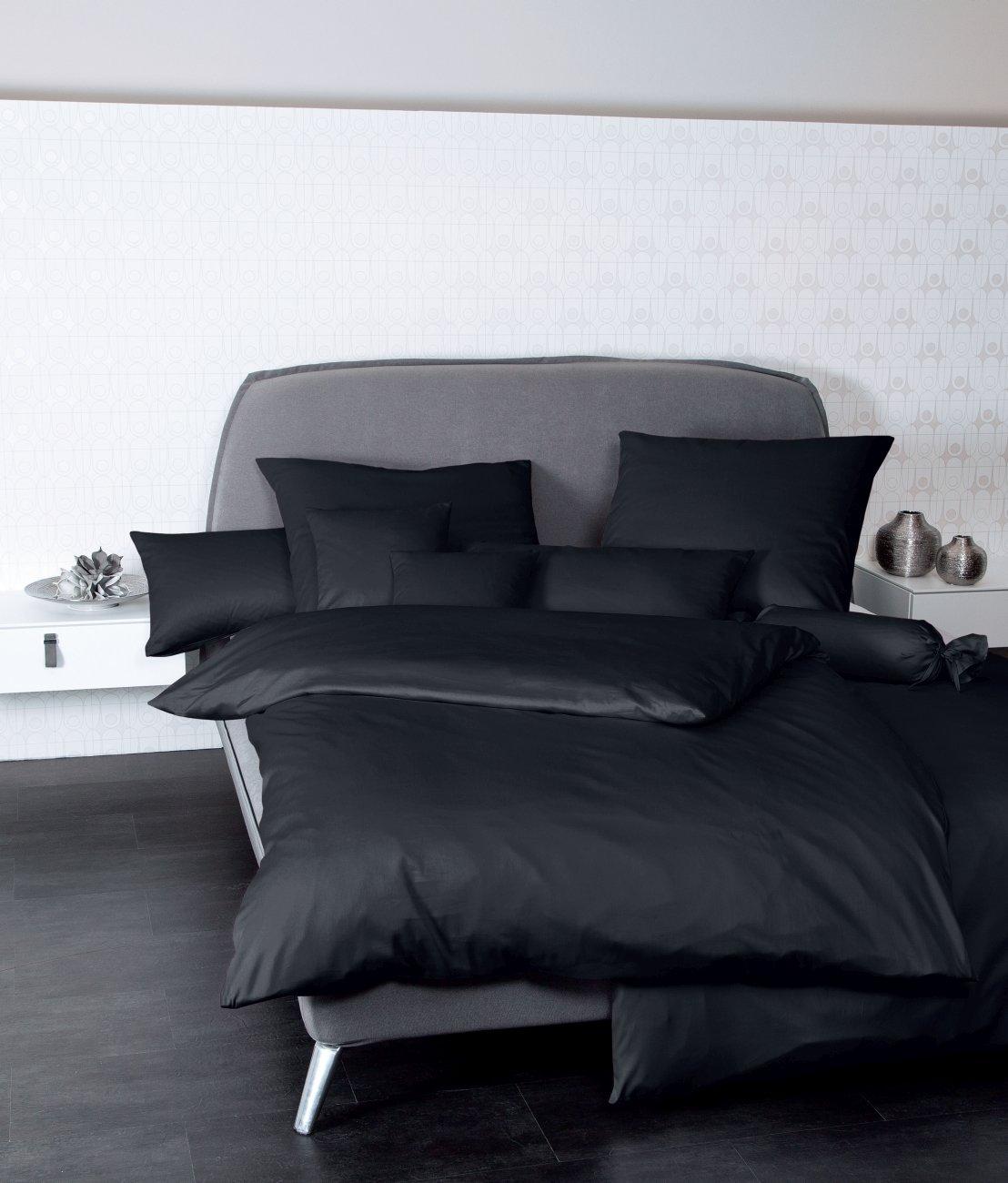 Janine Kissenbezug 40x80 UNI 100% BW Mako-Satin 31001-98 schwarz
