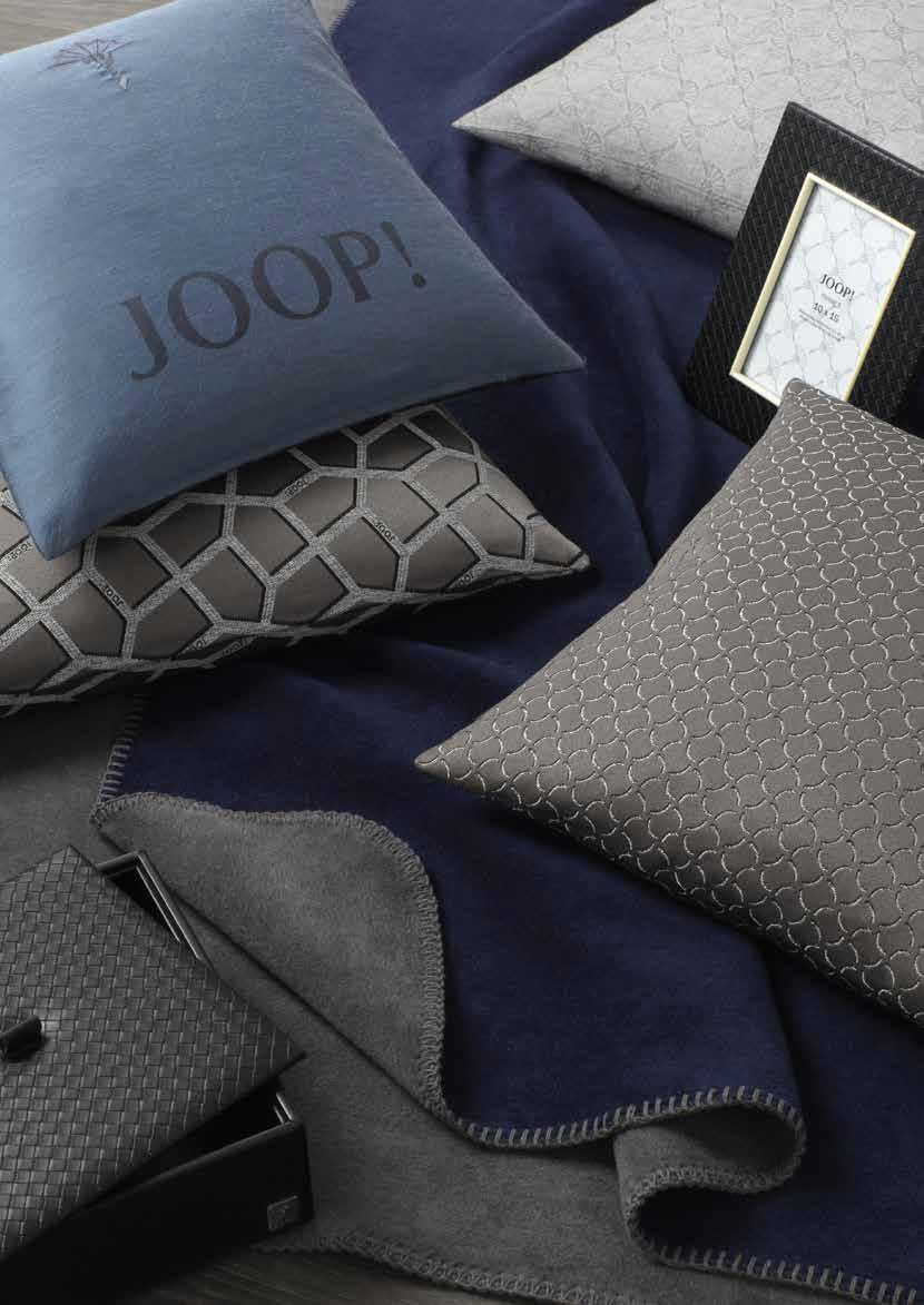 JOOP! Uni-Doubleface Wohndecke Decke 150x200 cm weich kuschelig mit Zierstich