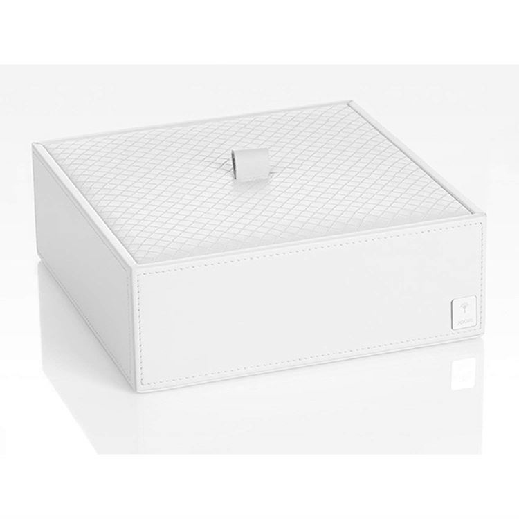 JOOP! Homeline Mehrzweckbehälter L mit Deckel 010990410 Leder Optik Weiß
