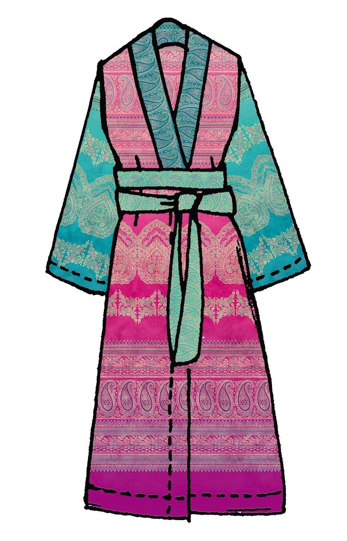 Bassetti Kimono BRUNELLESCHI V8 Größe S-M Druck mit beständigen Farben