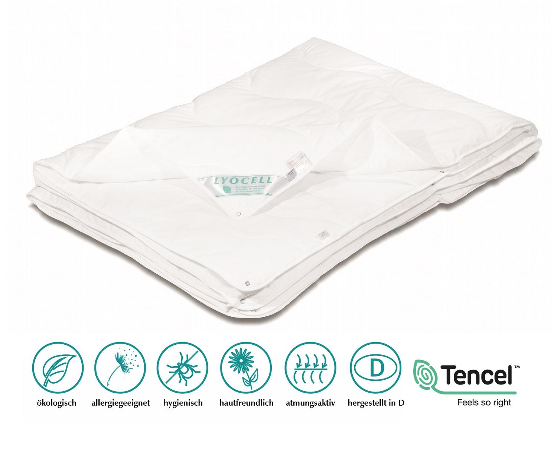 Lyocell Tencel 4 Jahreszeitendecke Duetto 135x200 cm 100% Natur Oeko-Tex Neuheit