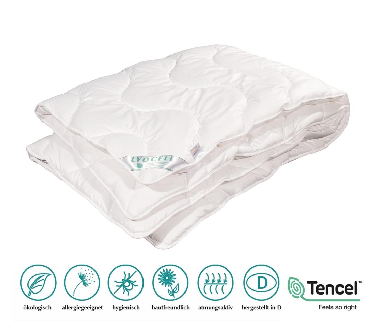 Ganzjahresdecke Lyocell Tencel 100% Natur Duo Decke hoher Schlafkomfort 200x220 cm