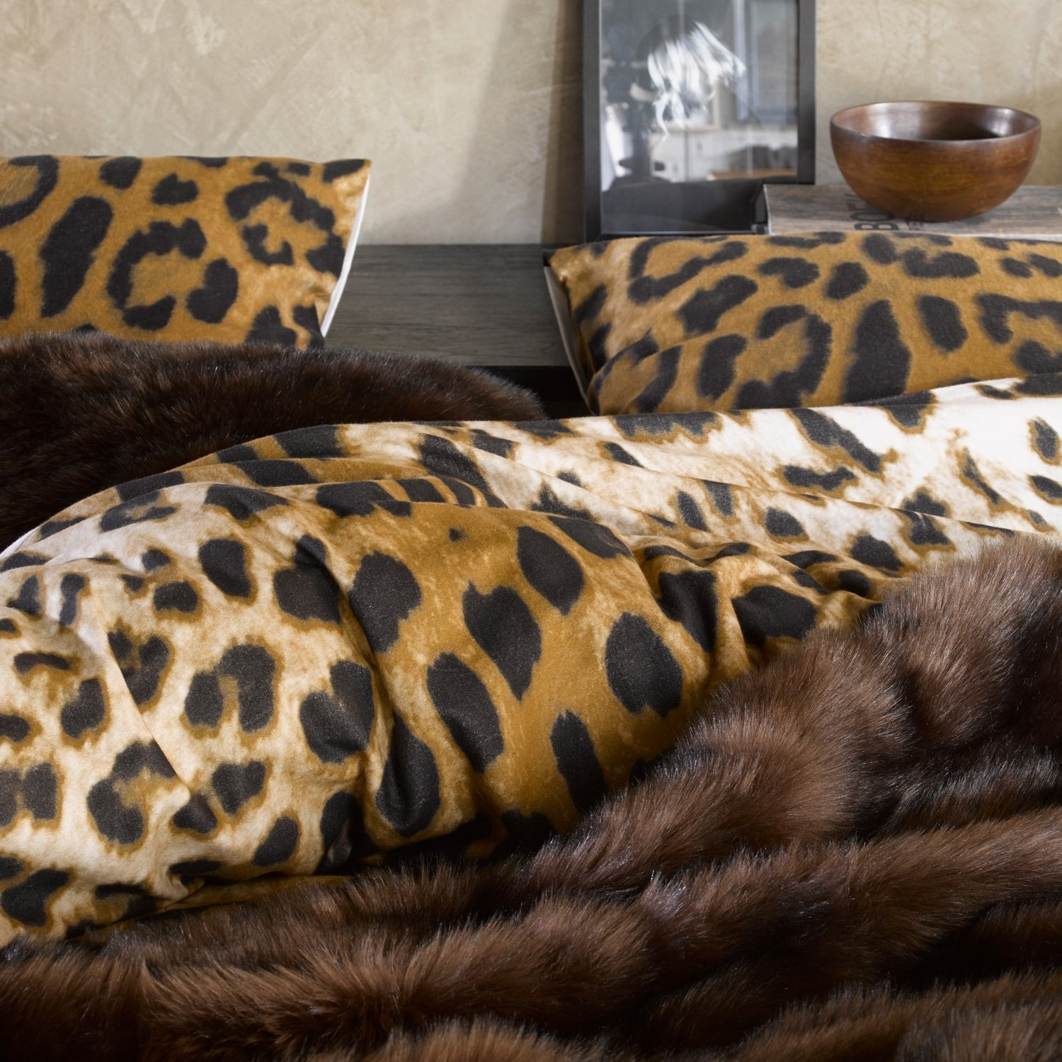 bettw sche essenza 100 baumwoll flanell 155x220 cm leopard brown neu. Black Bedroom Furniture Sets. Home Design Ideas