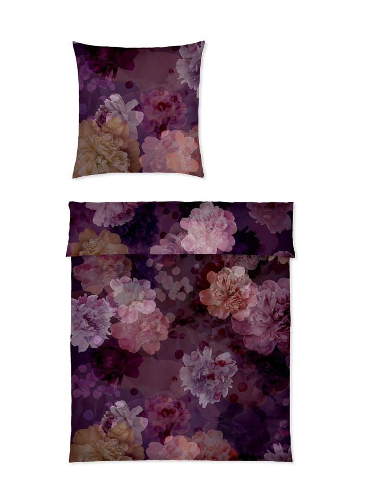 yes for bed Bettwäsche 100% Baumwolle Mako Satin Bouquet 01 Beere 135x200 cm
