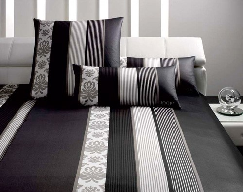 joop bettw sche ornament stripes hochwertig mako satin 4022 09 schwarz 135x200 ebay. Black Bedroom Furniture Sets. Home Design Ideas