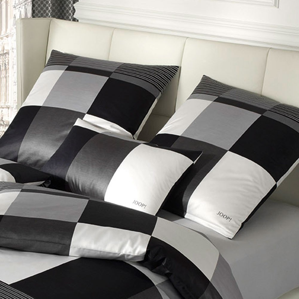 joop bettw sche plaza squares 4051 mako satin neu 00 schwarz wei 155 x 220 ebay. Black Bedroom Furniture Sets. Home Design Ideas