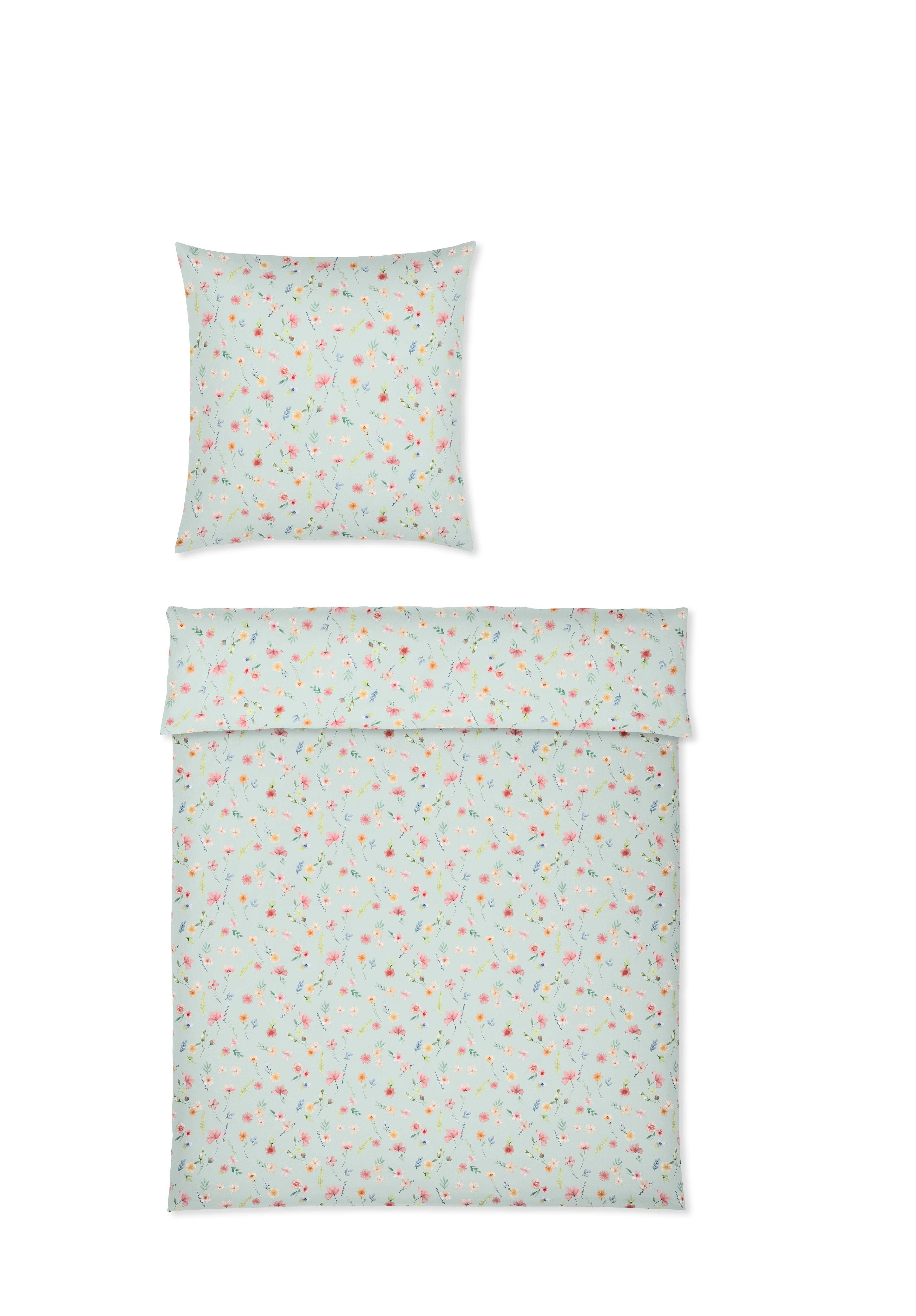 yes for bed Bettwäsche WILD Flowers 779-4 Mint 100% Baumwolle 135x200 cm Sale
