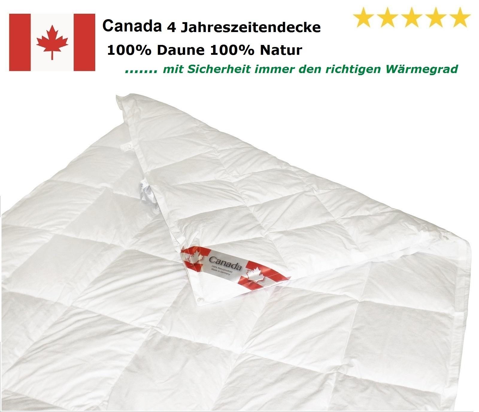 Canada Kassetten Daunendecke 4-Jahreszeiten 100% canadische Daunen 135x200 cm