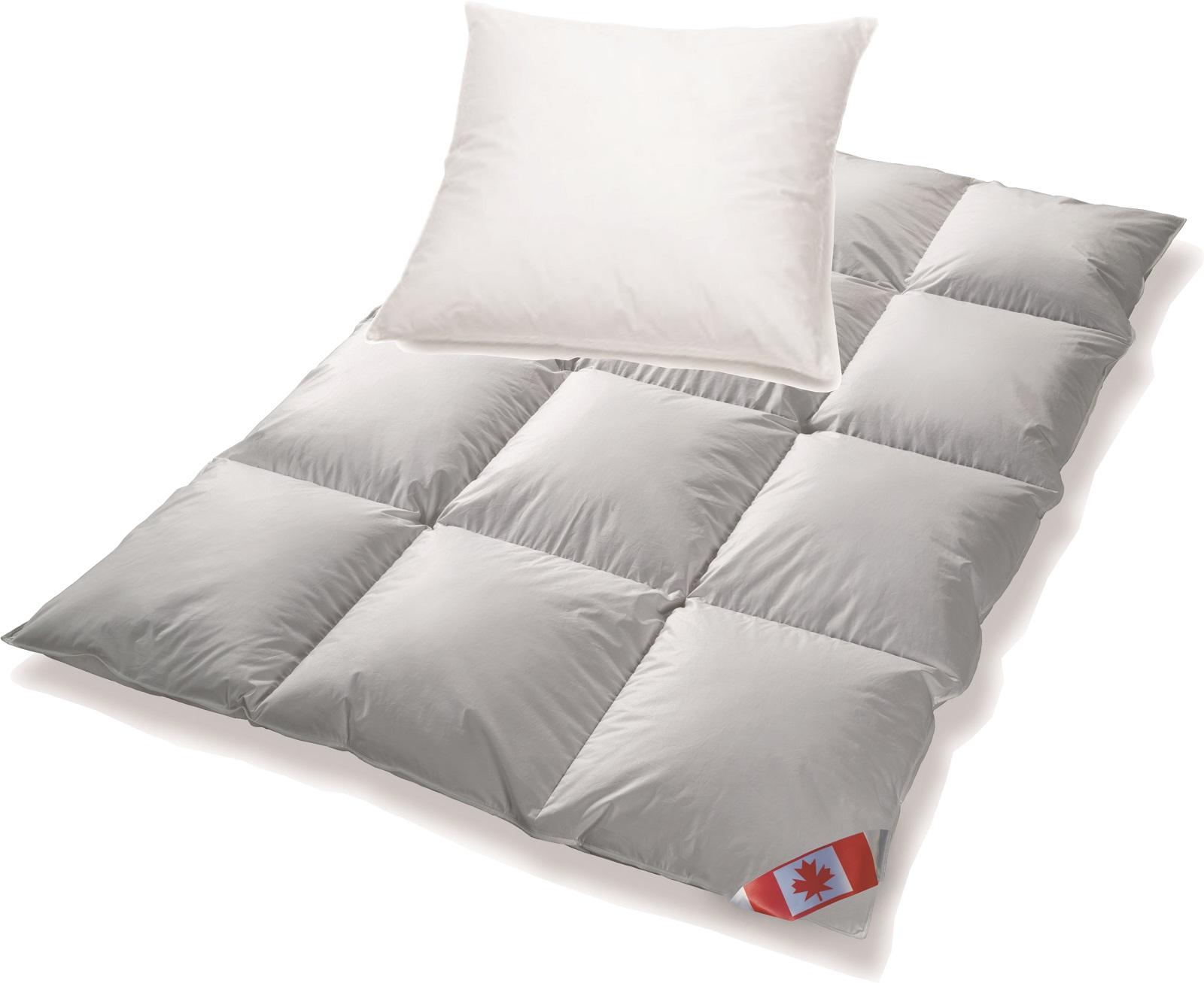 Angebot Canada Daunendecke EXTRA warm R5 100% Daune 135x200 + Kissen BASIC 80x80
