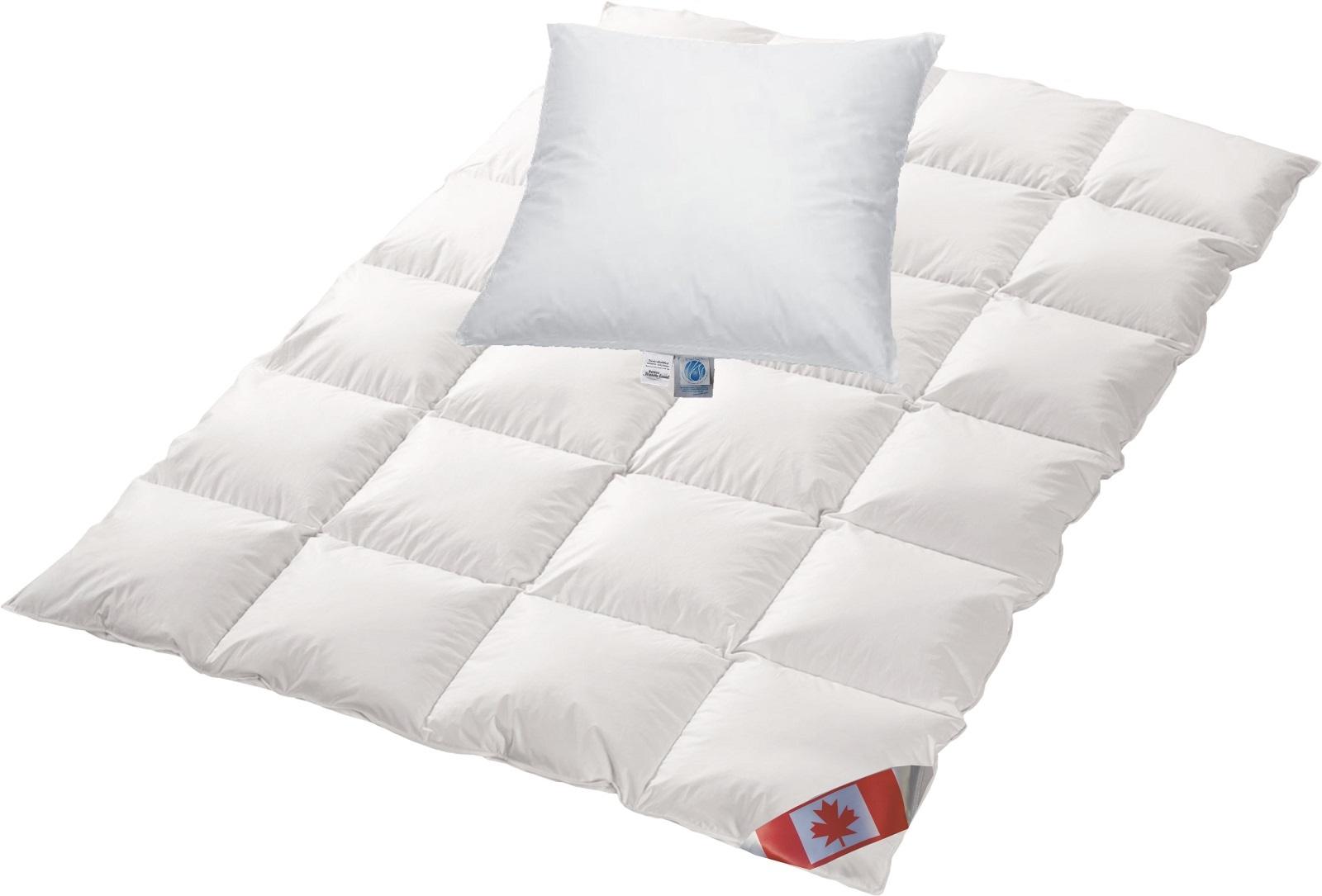 Angebot Set Canada warme Winterdecke 135x200 cm C4 100% Daunen und Basic Kissen 80x80 cm