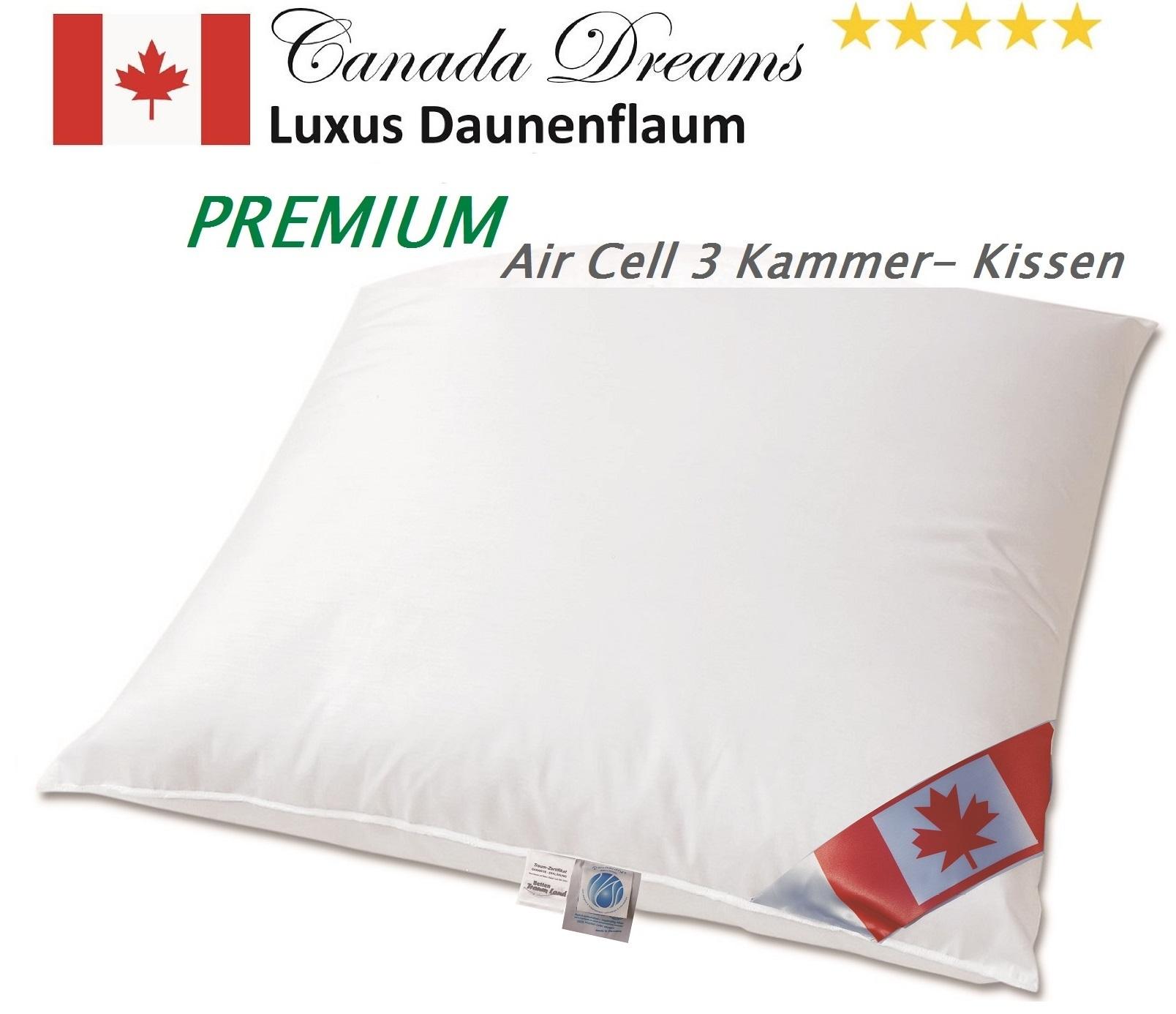 NEU: Premium Air Cell 3-Kammer Kissen außen 100% Daune 80x80 cm
