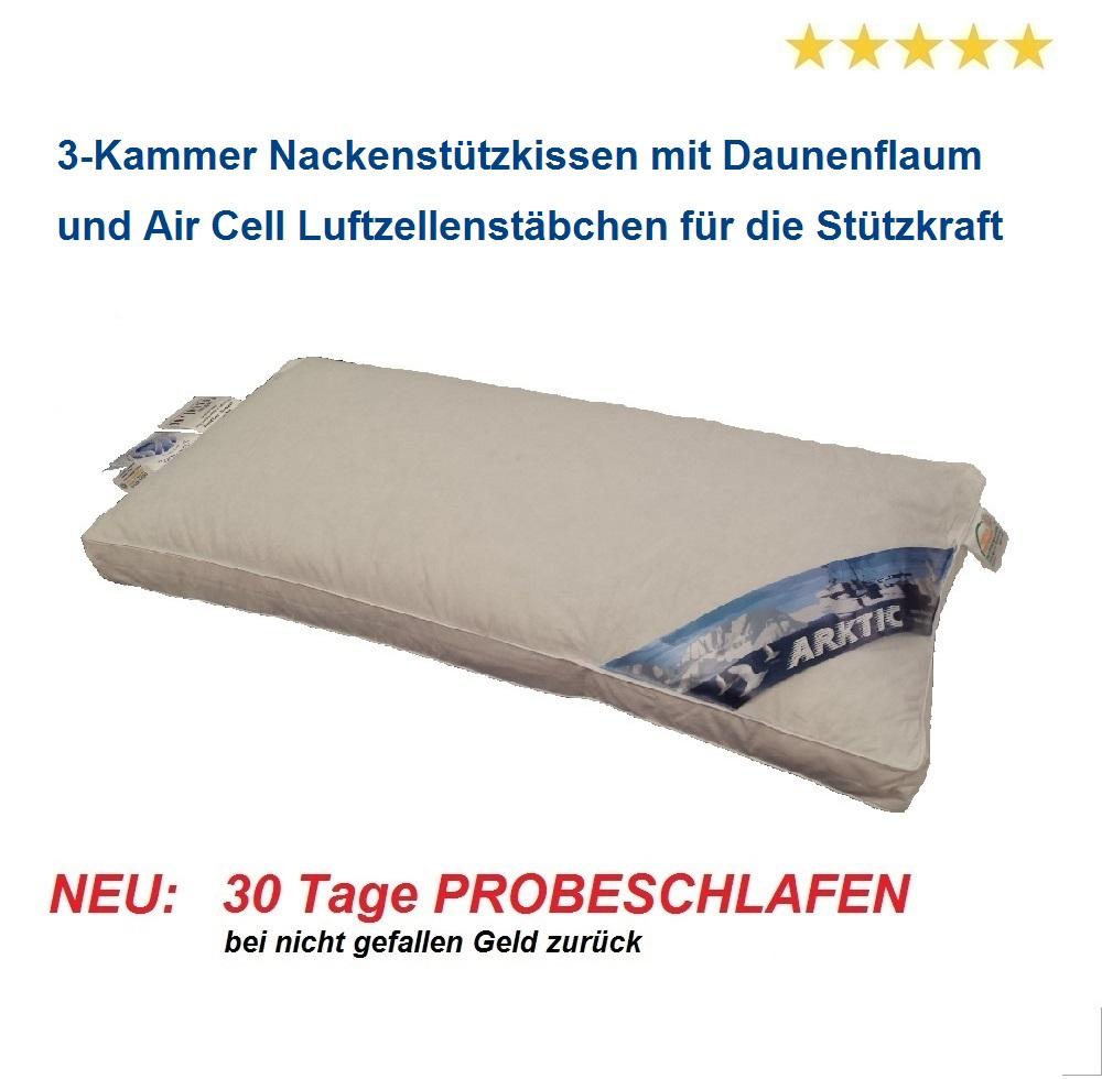 ARKTIC Nackenkissen Air Cell Premium Daunenflaum 3-Kammer 40x80 5 cm Außensteg