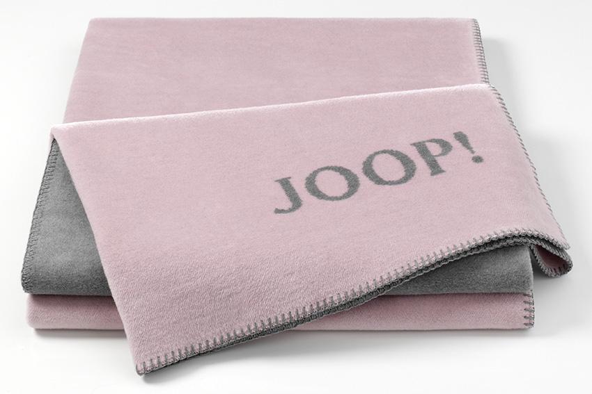 JOOP! Uni-Doubleface Wohndecke weiche Fleece Qualität Decke Rose-Graphit 716484