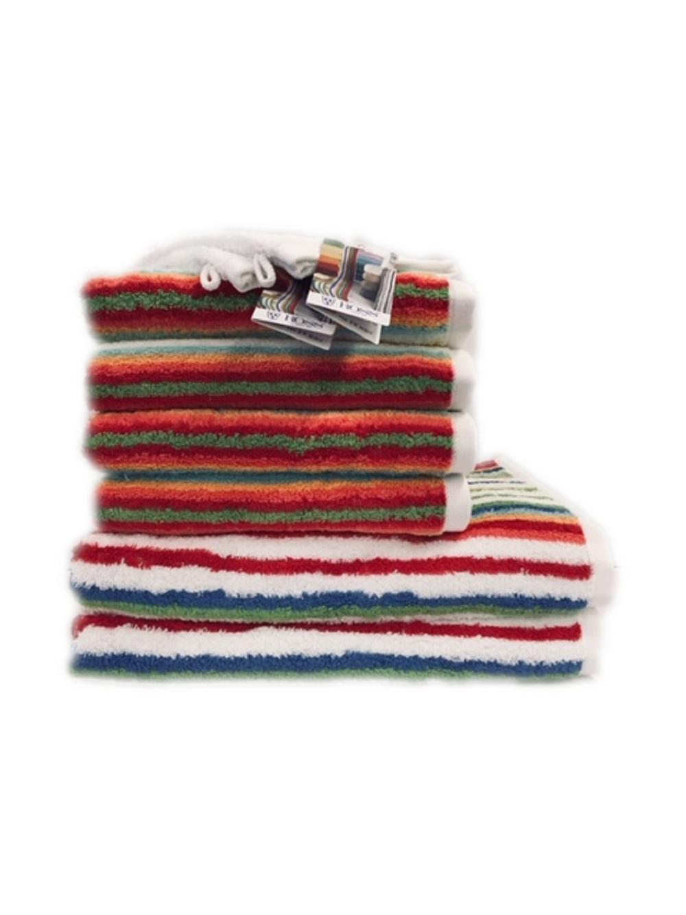 Angebot Ross Handtuchset 4014-01 Rot Streifen 2x Duschtuch 4x Handtuch Gratis 2x Waschhandschuh