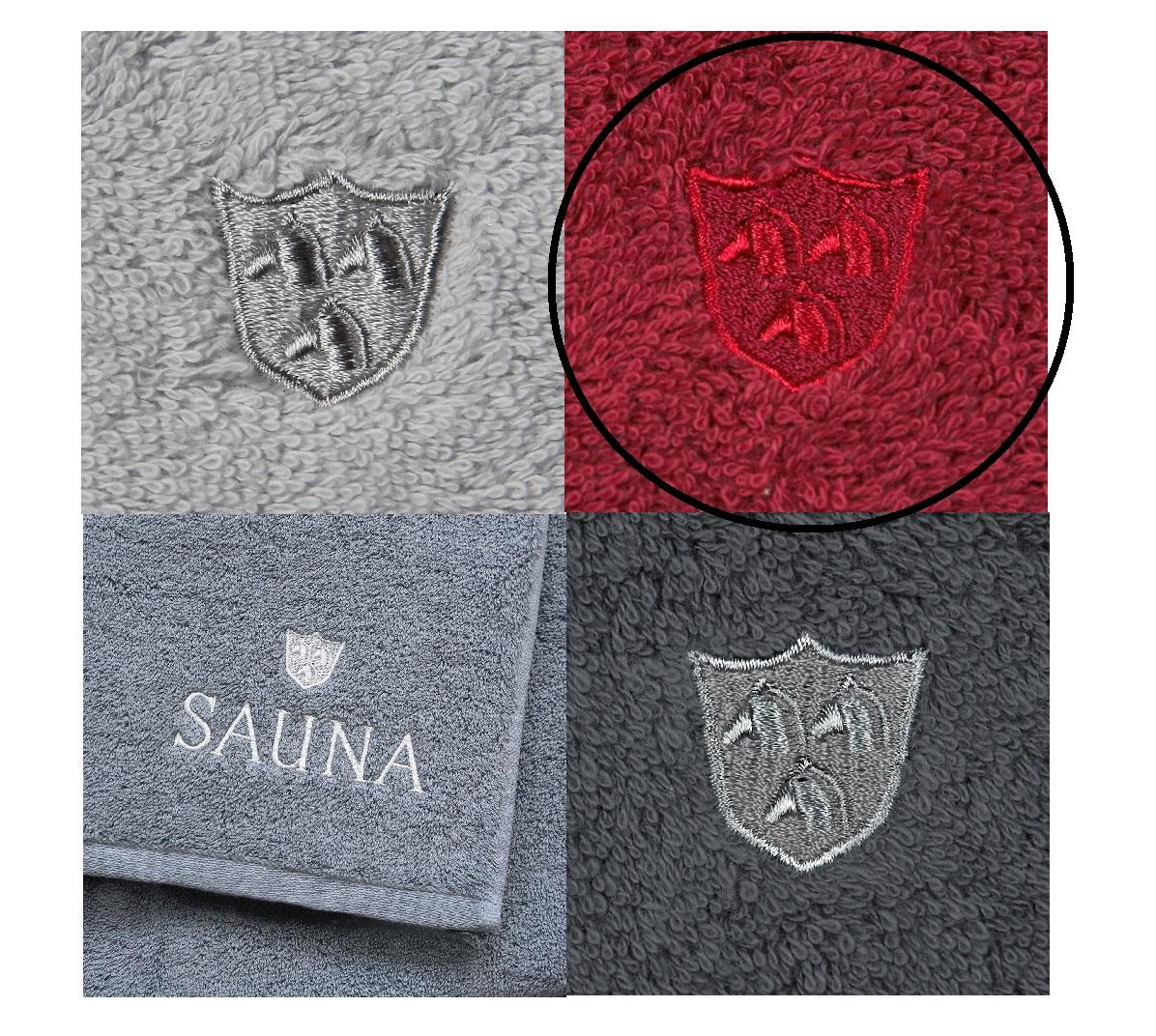 ROSS Saunatuch Wellnesstuch weiche Qualität mit Stickerei und Logo 19 marsala