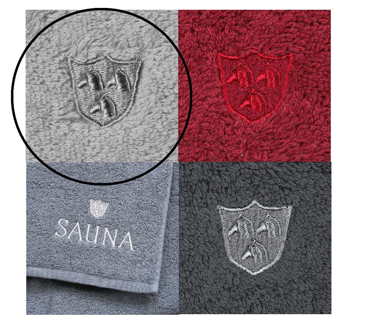 ROSS Saunatuch Wellnesstuch weiche Qualität mit Stickerei und Logo 80 silber