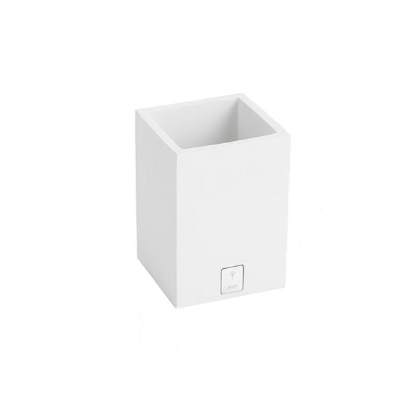 JOOP! Bathline Behälter Becher quadratisch silber Logo 11031410 Weiß