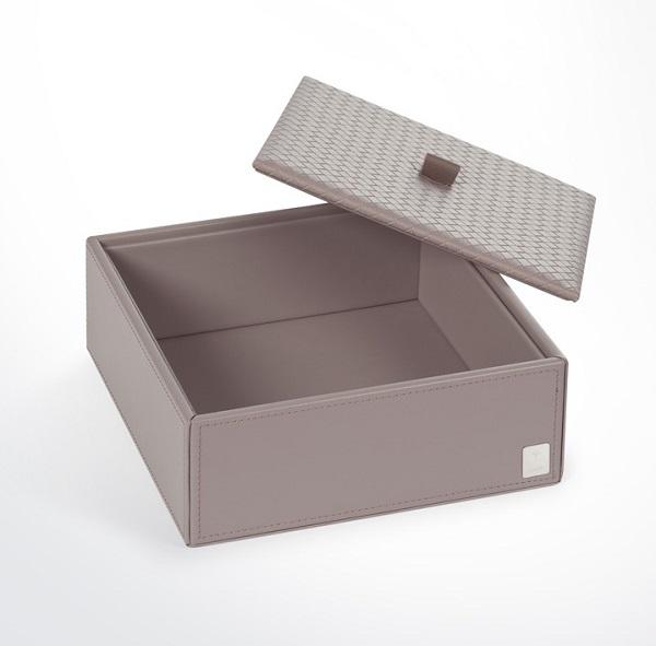 JOOP! Bathline Mehrzweckbehälter L mit Deckel 010990413 Leder Optik Grau