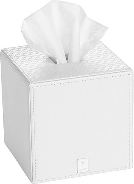 JOOP! Bathline Papiertuchbox Weiß quadratisch mit Silber Logo 010960410