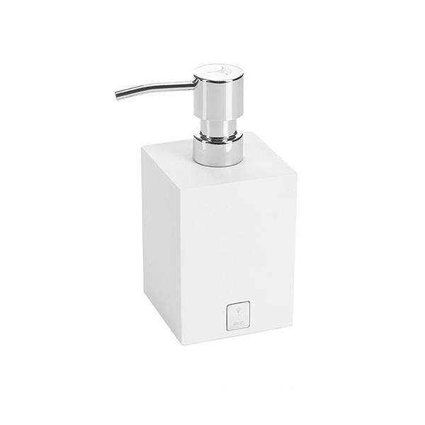 JOOP! Bathline Seifenspender quadratisch silberfarbenem Logo 11061410 Weiß