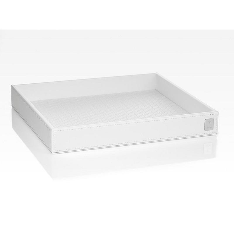 JOOP! Bathline Tablett L quadratisch mit Silber Logo 011080410 Weiß