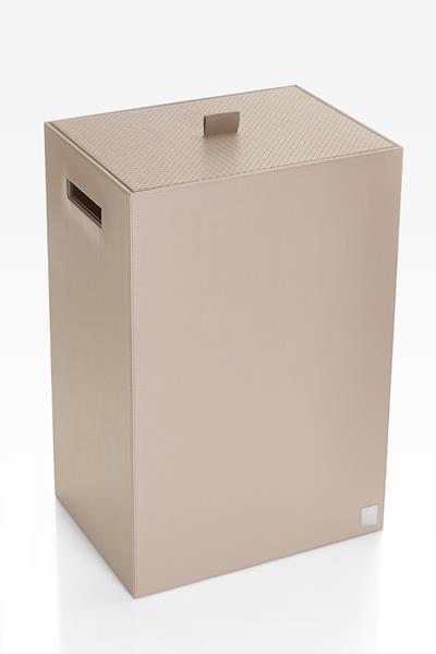 JOOP! Bathline Wäschebehälter mit Deckel Lederoptik Grau 110950413