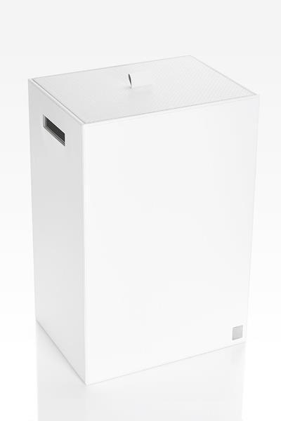 JOOP! Bathline Wäschebehälter mit Deckel Lederoptik Weiss 010950410