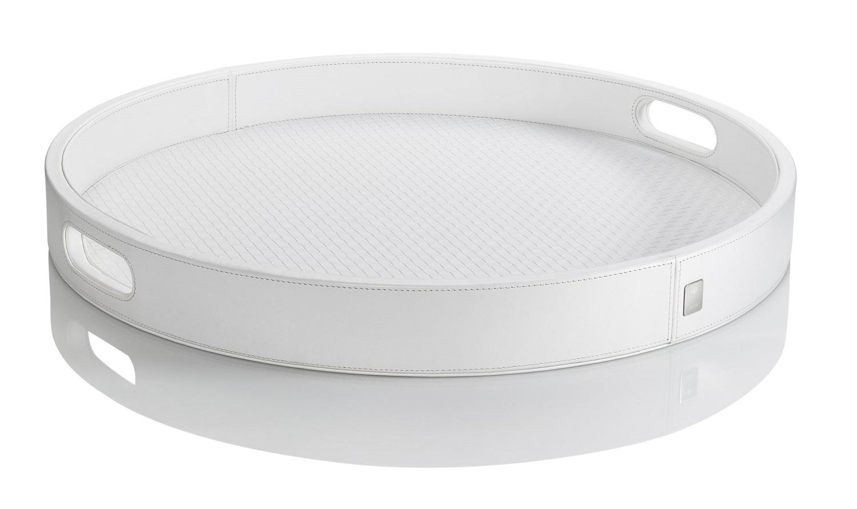 JOOP! Homeline Tablett rund 46 cm groß weiß Lederimitat mit Logo-Metallbadge 11630410