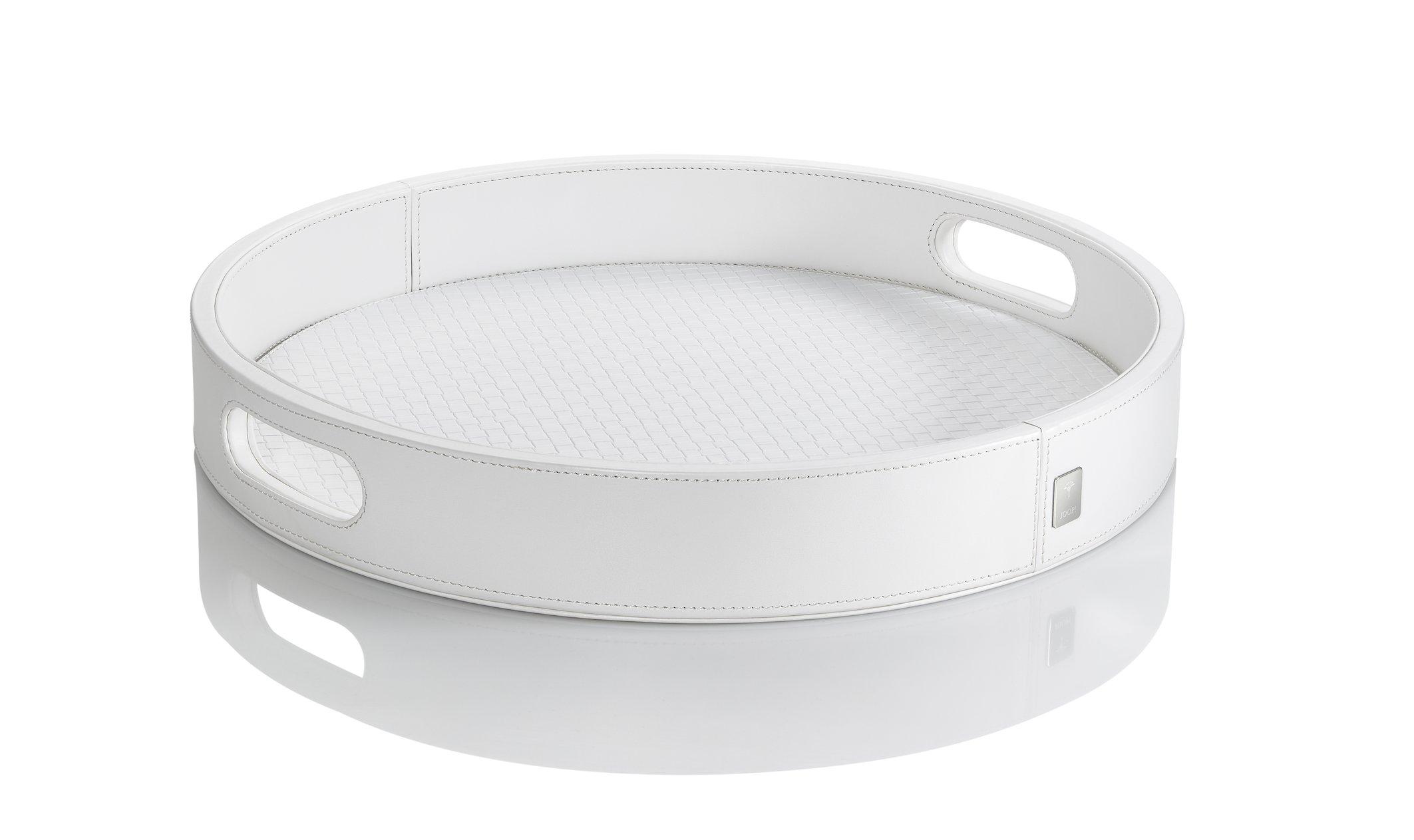 JOOP! Homeline Tablett rund 36 cm klein weiß Lederimitat mit Logo-Metallbadge 11620410