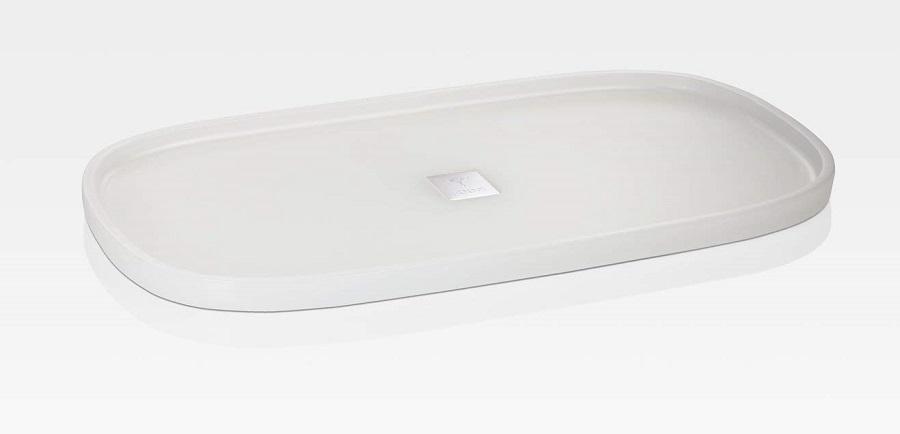 JOOP! Crystal Line Tablett L rechteckig Weiß 011491410 mit Logo Plakette