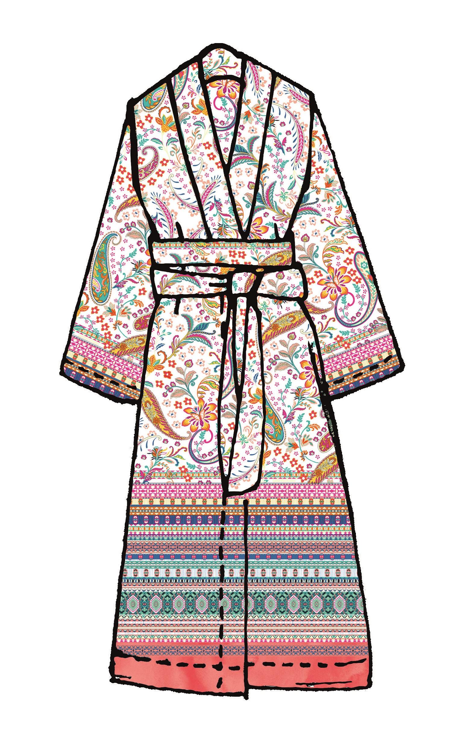 bassetti Kimono Burano R 1 Rosa Größe S-M aktuelle Kollektion 2020 Paisley