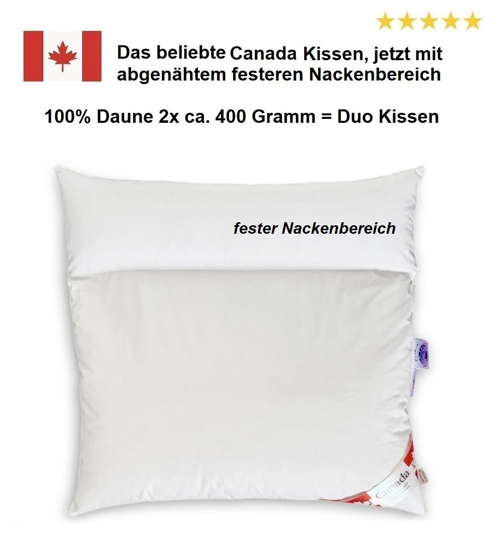 Duo-Kissen Canada 80x80 100% Daune 2x 400 g abgenähtem Nackenbereich