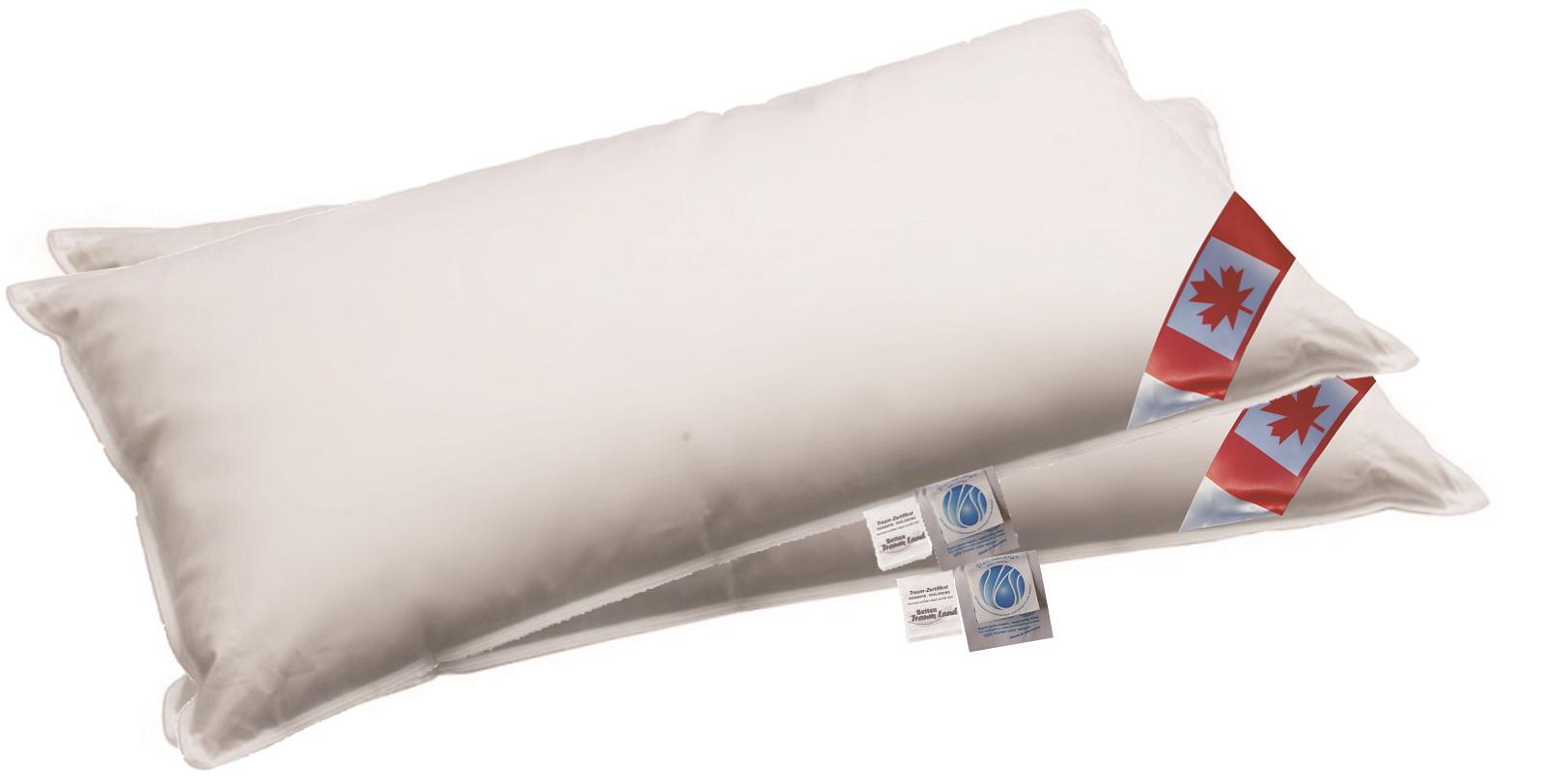 2 x Premium Air Cell 3-Kammer Kissen 475 g außen 100% Daune 40x80 cm
