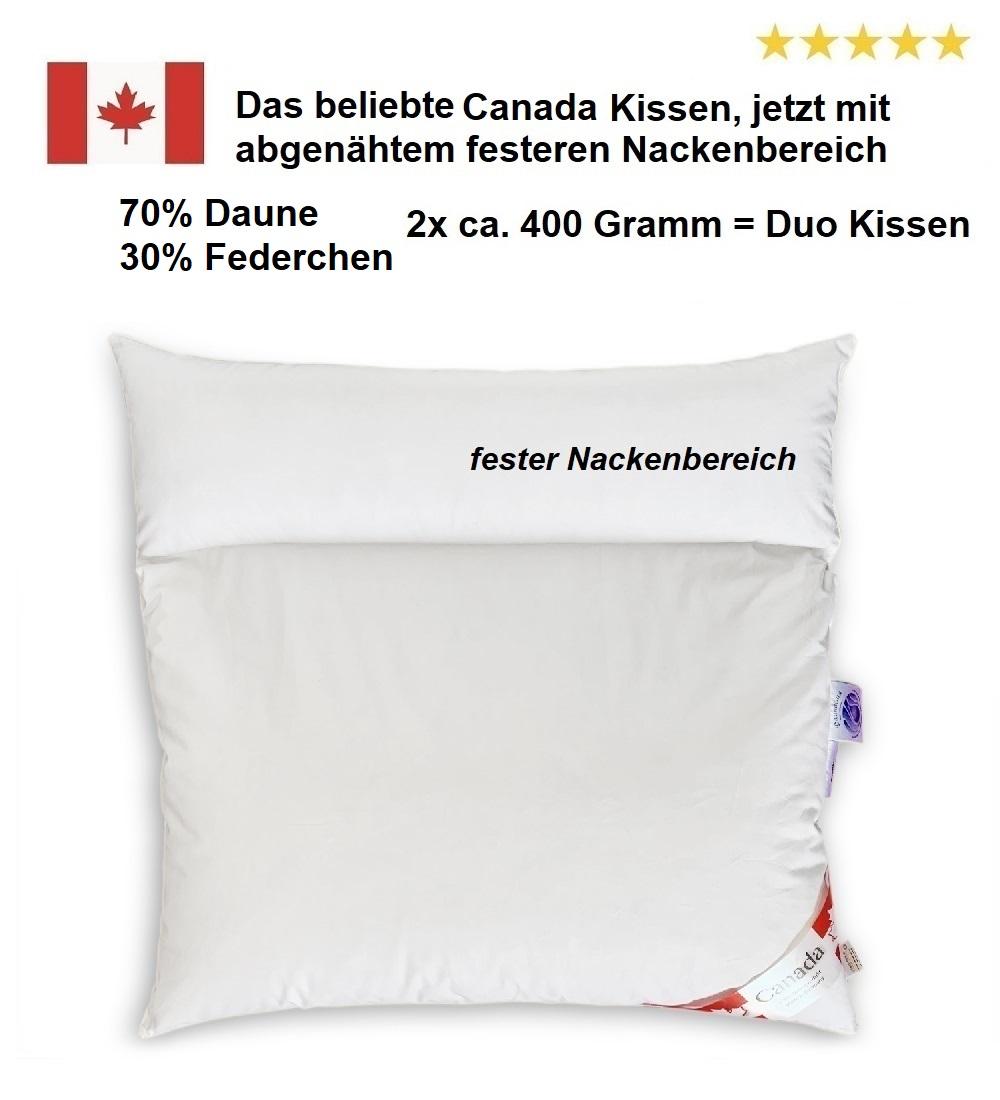 Duo-Kissen Canada 80x80 cm 70/30% 2x 400 g mit abgenähtem festem Nackenbereich