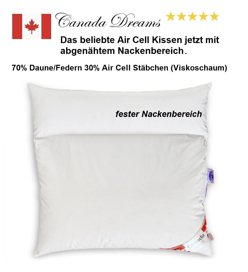 Duo-Kissen BASIC 80x80 70%Federn/Daune 30% AirCell 2x500 g fester Nackenbereich