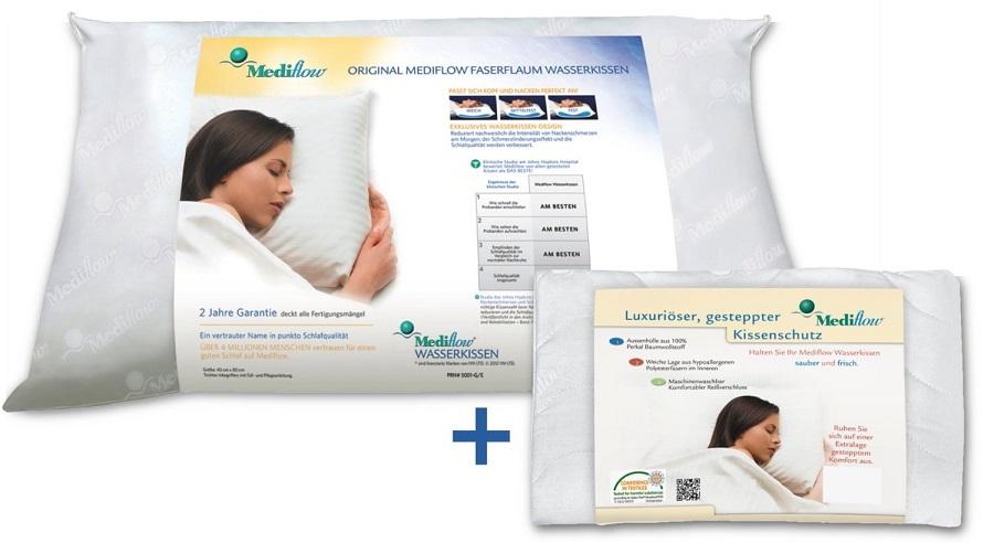 1 Set Mediflow Wasserkissen 5001 + Kissenbezug  40 x 80 cm Schlafkissen