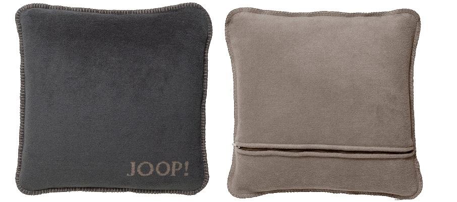 JOOP! Kissenhülle Uni-Doubleface weiche Fleece Qualität 50x50 Anthrazit-Taupe