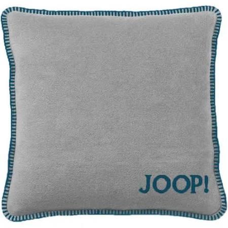 JOOP! Kissenhülle Uni-Doubleface weiche Fleece Qualität 50x50 Graphit-Petrol