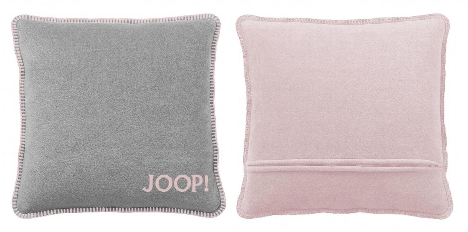 JOOP! Kissenhülle Uni-Doubleface weiche Fleece Qualität 50x50 Graphit-Rose