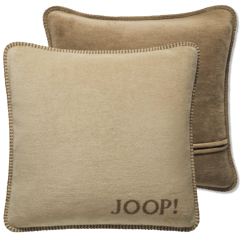 JOOP! Kissenhülle Uni-Doubleface 739445 Fleece Qualität 50x50 Macchiato-Cashew