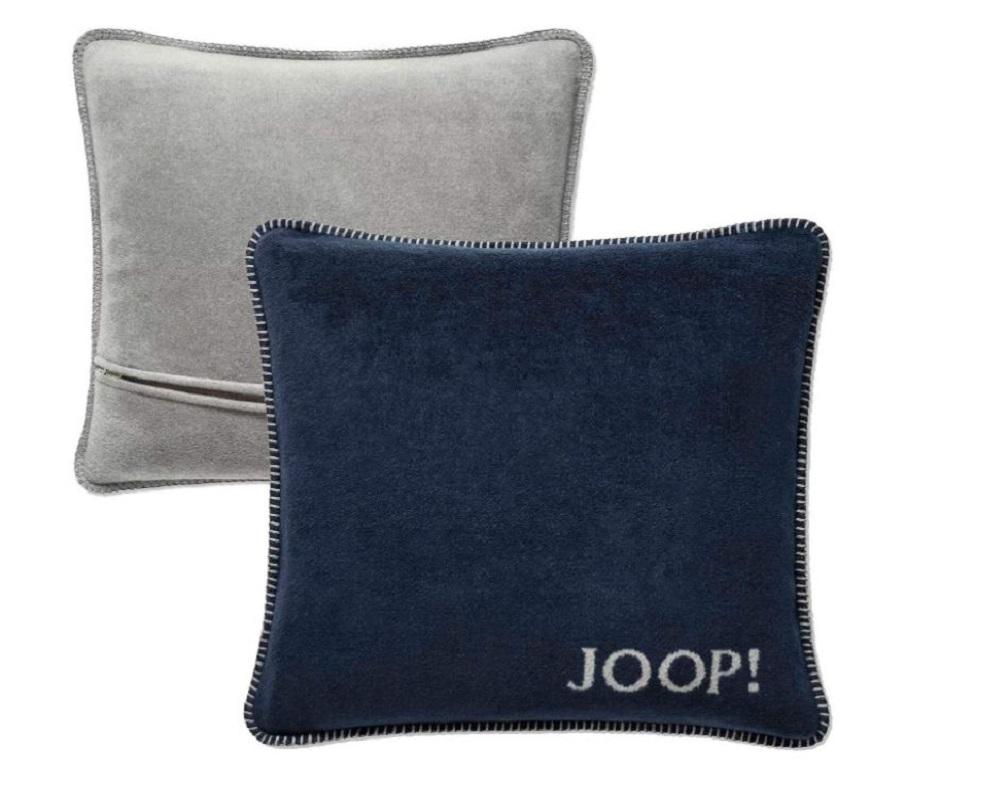 JOOP! Kissenhülle Uni-Doubleface 739421 Marine-Graphit Fleece Qualität 50x50 cm
