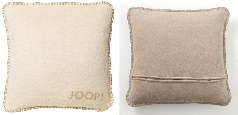 JOOP! Kissenhülle Uni-Doubleface weiche Fleece Qualität 50x50 Pergment-Sand