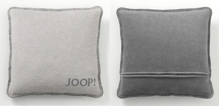 JOOP! Kissenhülle Uni-Doubleface weiche Fleece Qualität 50x50 Rauch-Graphit