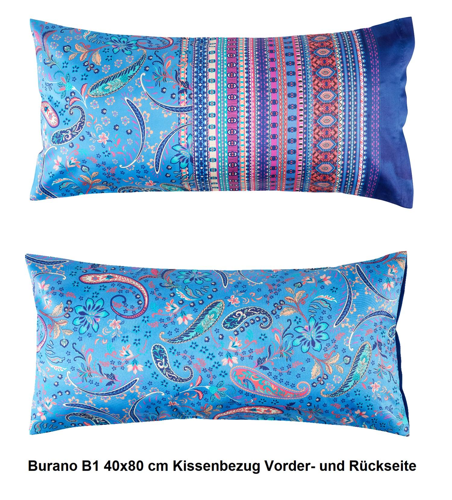 bassetti Granfoulard 1x Kopfkissenbezug Burano B1 Blau 40x80 cm neue Farbe