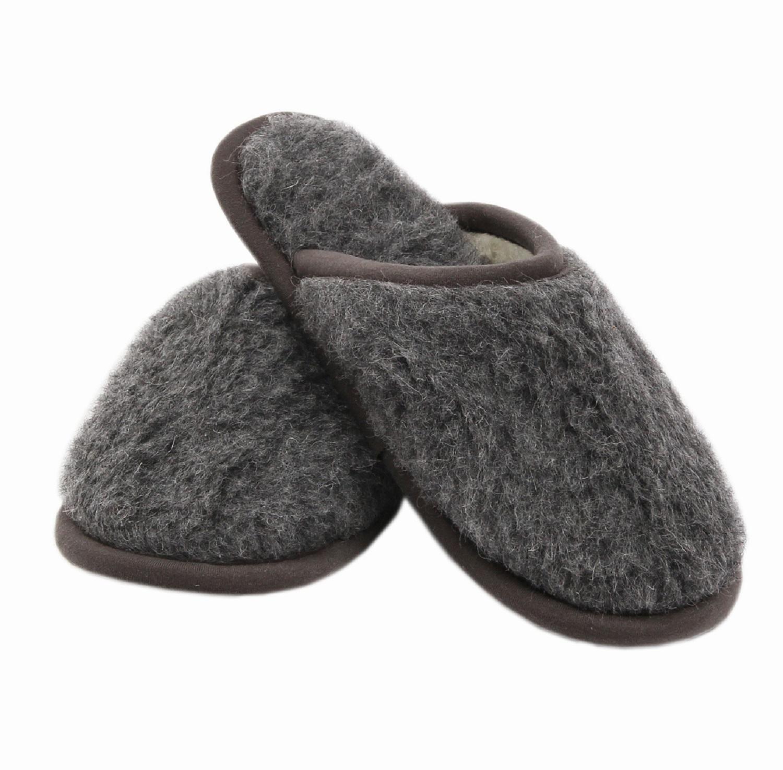 Merino Slipper 'Kuschel' Graphite 100% Wolle Hausschuhe warm weich Noppensohle