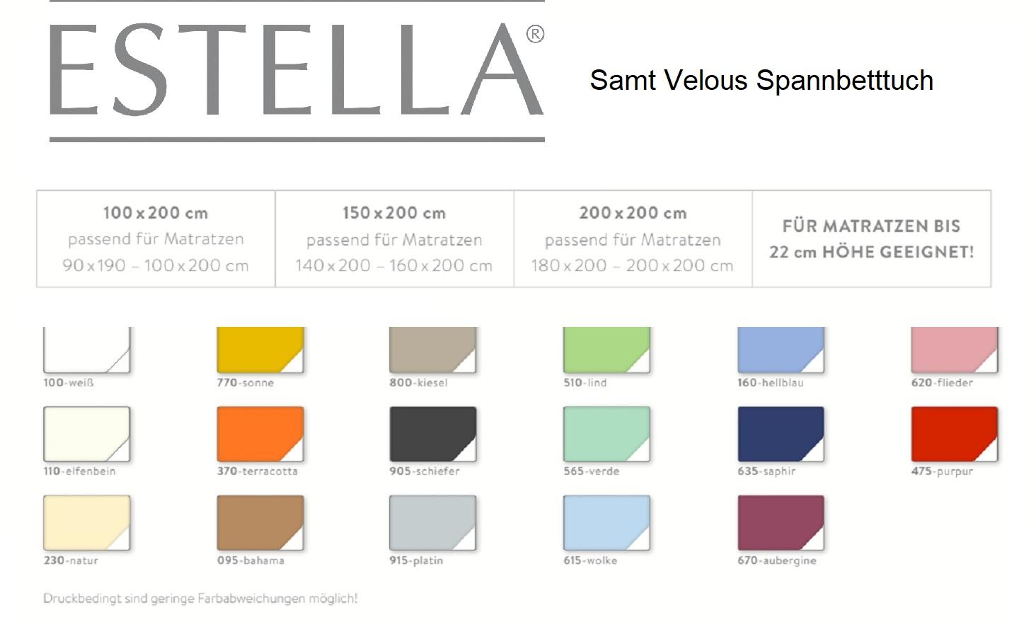 Estella Spannbetttuch Samt Velours 5700 samtig weiche Frottee Qualität